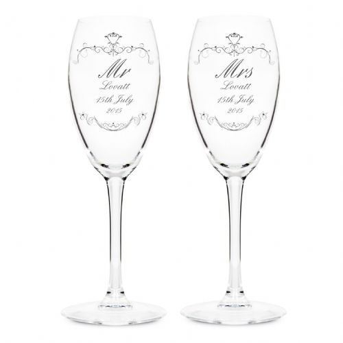 Personalised Ornate Swirl Couples Flute